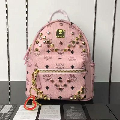 MCM Small Stark M Odeon Studs Backpack In Light Pink