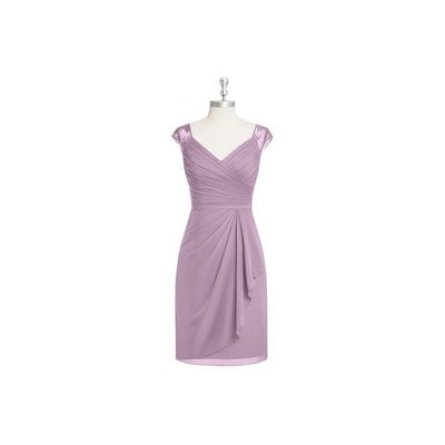 Wisteria Azazie Fawne - V Neck Chiffon And Lace Knee Length Illusion Dress - Charming Bridesmaids Store