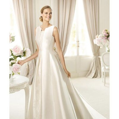 Simple A-line Straps Buttons Lace Sweep/Brush Train Satin Wedding Dresses - Dressesular.com