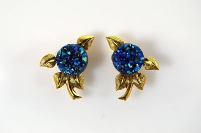 10 mm Drusy Cab Set In Gold Or Silver Leaf Magnetic Non Pierced Clip Earrings $45.00 Designed by LauraWilson.com
