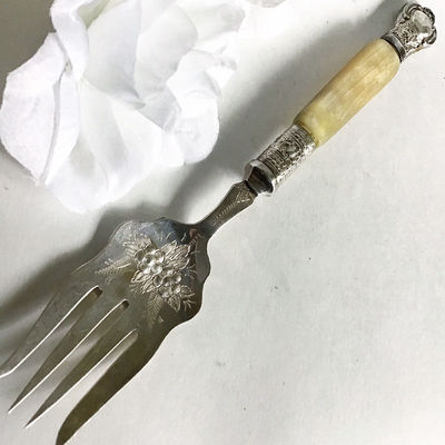 Silver Fork, Victorian Silver Serving Fork, Antique Silverware, Meat Fork, Large Serving Fork, Mother of Pearl, Jonathan Bell Silver $90.00