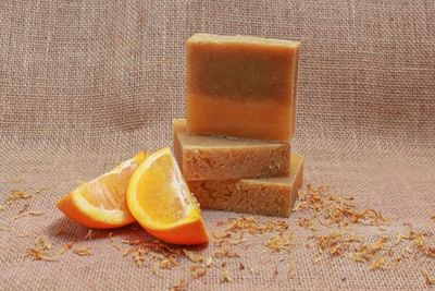 2 Bars Of Orange Hibiscus Soap Loaf Plus Cedar Soap Saver | Bar Soap Dish $9.95