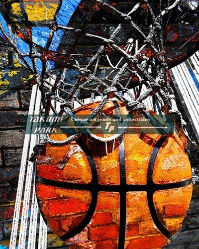 A colorful basketball poster art print. A nice modern basketball artwork. I have several basketball poster prints in this collection. Please check my basketball art prints out.