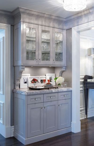 Gray cabinets i love cabinets that look like furniture for Kitchen cabinets that look like furniture