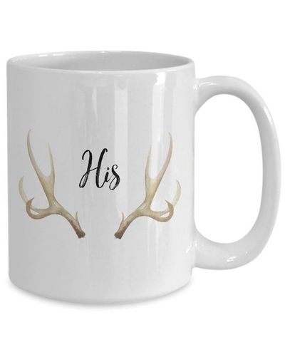 His deer antlers White Ceramic Coffee Mug |Wedding Gift | Engagement Gift | Anniversary| Newly Weds| Couple| Bride| Groom| $17.45