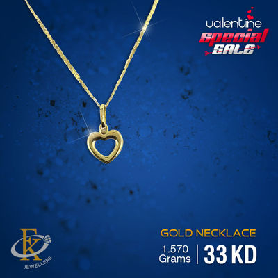 #ValentineSpecialSale � This piece of jewellery will make your Valentine more special. �–� Product type: Gold Heart Necklace  �–� Price: 33KD �–� Weight: 1.570 Grams �–� Free Delivery  �–� Karat: 18 Karat  �œR...