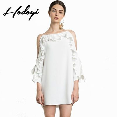 Vogue Sexy Sweet Bateau 9/10 Sleeves Accessories One Color Spring Frilled Dress - Bonny YZOZO Boutique Store