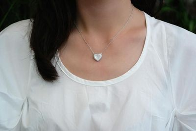 Sterling Silver Pave Heart Necklace (2 Colors) $72.00