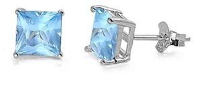 Gorgeous 2CT Princess Cut Aquamarine AAAA Cubic Zirconia Stud Earrings $21.00