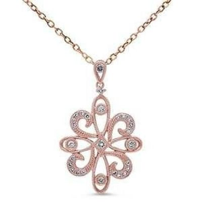 14kt Rose Gold Prong Set Snowflake Flower Diamond Necklace Pendant With Gold Chain $947.55