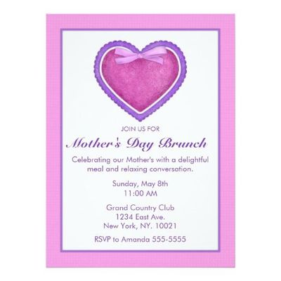 Country Craft Mother's Day Brunch Card
