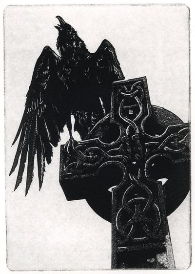 """Raven artwork , Raven, crow, assorted color Etching 5"""" x 7"""" 2011 $56.70"""