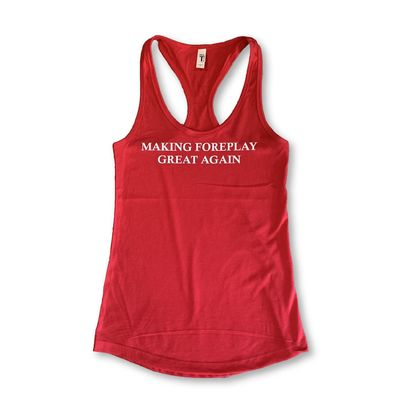"""THIGHBRUSH® """"Making Foreplay Great Again"""" - Women's Tank Top - Red with White Glitter"""