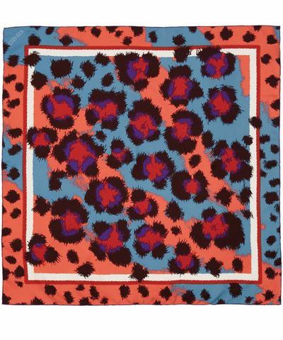 Leopard print silk scarf from Kenzo available at Liberty.co ...