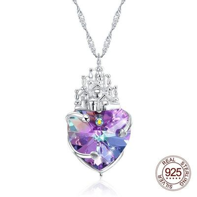 Swarovski Crystal Purple Heart Silver Charm Necklace, Charm Necklace, Water Wave Chain, Heart Necklace, Gift for Her $58.20
