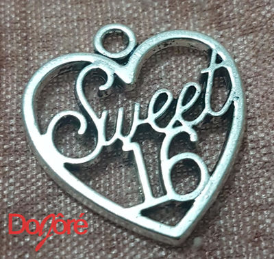 CLEARANCE Pack of 20 Silver Coloured SWEET 16 Heart Charms. 19mm x 21mm Happy Birthday Pendants £4.99
