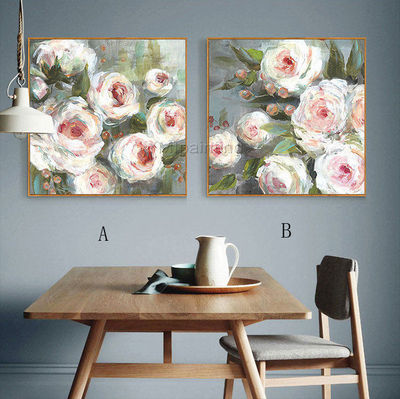 Abstract floral painting on Canvas art extra Large Wall Pictures Rose pink Original framed painting home Decor heavy texture painting $148.75
