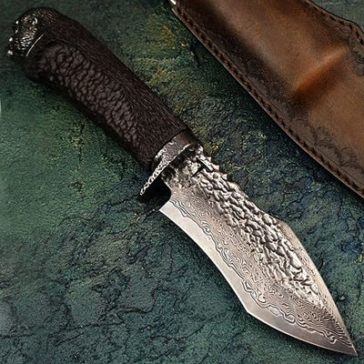 Handmade Damascus Hunting Knife Ebony Handle Leather Sheath $135.10