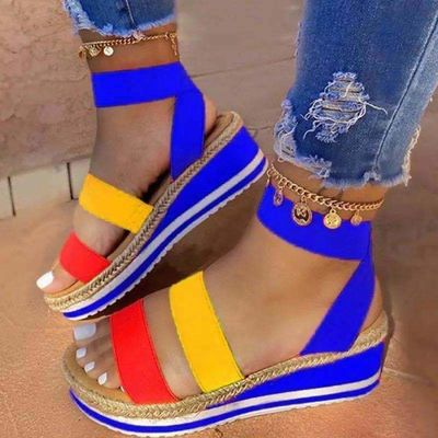 Summer Beach Bling Crystal Rome Ladies Mixed Color Cutouts Wedges Sandals Shoes Woman jkm8 $15.28