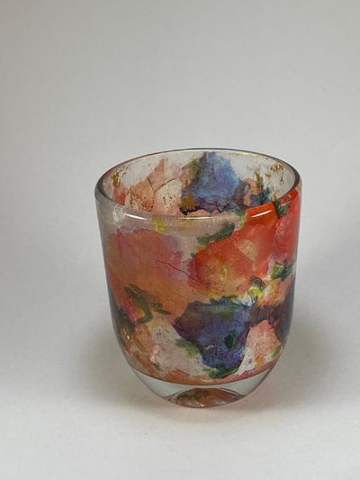 Stained Glass Look - Floral Candle Holder $12.50