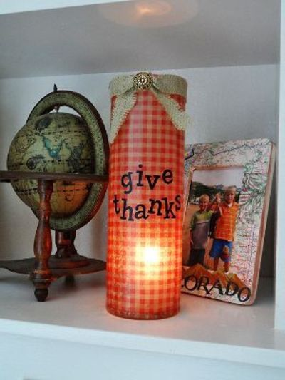 Set the mood for a lovely Thanksgiving with this Give Thanks Vase. You could put a small electric candle inside for a soft dinnertime glow, or fill it with flow