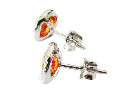 Halo ring 14K white gold Vivid Orange CZ Diamond Earrings surrounded by F VS Diamonds $671.00