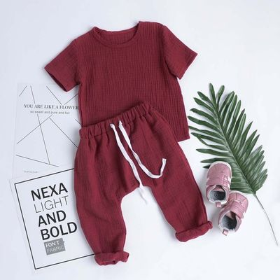 Baby Linen Round Neck Top and Trouser Set $18