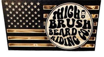 THIGHBRUSH® Flag Plaque - Burnt Lacquered Pine - BRC Logo