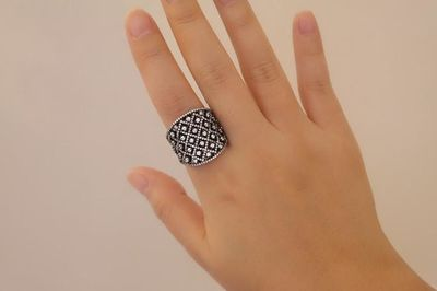 Sterling Silver Wide Byzantine Cocktail Ring, Black $145.00