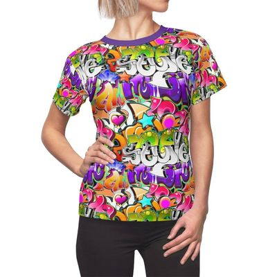 Graffiti Star Women's Shirt Moisture Wicking Strong Elastic Fabric Vibrant Durable Colors Best Quality Pigment Inks Sizes XS - 2XL $21.99 https://www.etsy.com/shop/LAFabriKDesigns?ref=ss profile
