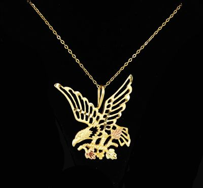 10k Black Hills Gold Eagle, Yellow and Rose Gold, Signed 10K CC on 14K GF Chain, Bird Carrying Grapevine, Leaves and Grapes, Vintage 1990's $265.00