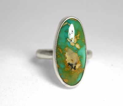 Genuine Turquoise and Sterling Silver Ring - Size 7 $38.35