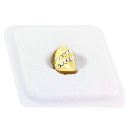 Gold Plated 2 Row CZ Single Tooth Cap Grillz £14.95