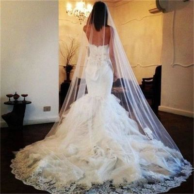 White Ivory Cathedral 1 Layer Lace Applique Edge Wedding Accessories Long Bridal Veil with Comb Veu De Noiva $39.99