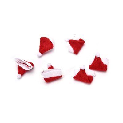 Pack of 10 Tiny Folded Christmas Hats. Xmas Santa Decorations £6.99