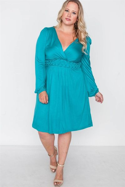 Plus Size Shoreline Turquoise Ling Sleeve Dress $24.01