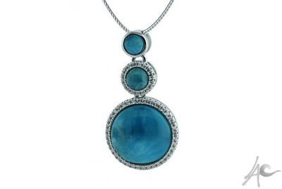Circle Pendant (33x17 mm) - Larimar