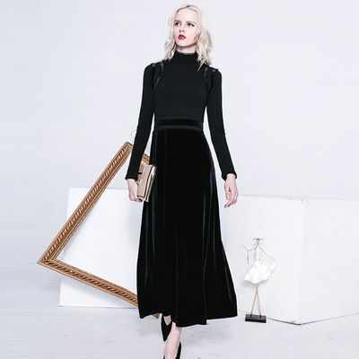 Elegant Vintage Split Front Hollow Out Crochet High Waisted Swan Dress - Bonny YZOZO Boutique Store