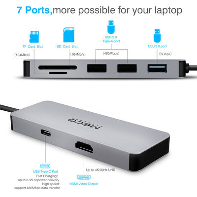 MECO 7 in 1 Type C Hub USB C to 4K HDMI USB3.0 TF SD Card Reader With Type C PD Charging Port