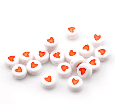 Pack of 100 Red & White Round Acrylic Heart Beads. 7mm x 3mm Plastic Spacers. £3.39