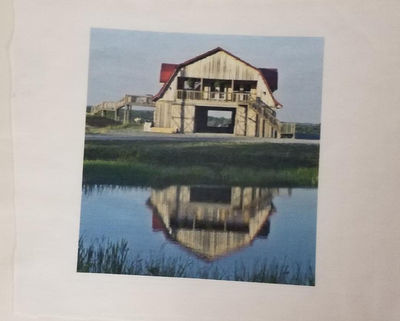 Fabric Panels, Horse Barn & Reflection in Pond, Fabric Panels, 4x4 or 6x6 or 8x8, Poly Quilt Fabric by the Square, Crafts, Quilts, Quilters $7.95