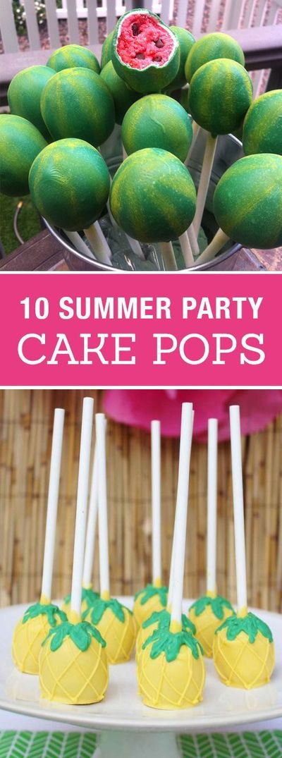 10 Creative Cake Pops for a Summer Party! Cute birthday or pool party desserts. From beach balls and sharks to lady bugs and crabs. 10 cute fun food ideas for cake pops! #cake #cakepops #summer #dessert #summerparty #party #partyideas #recipes #easyrecipe...