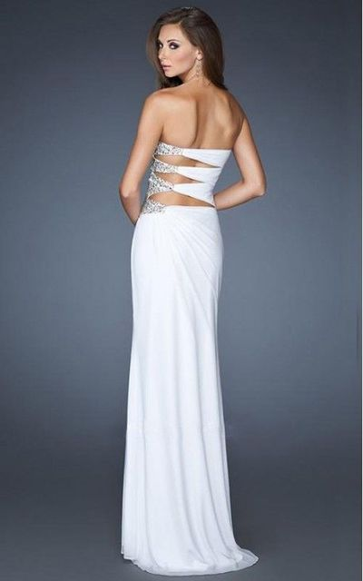 Embellished Cutout Gown by La Femme 18771 White