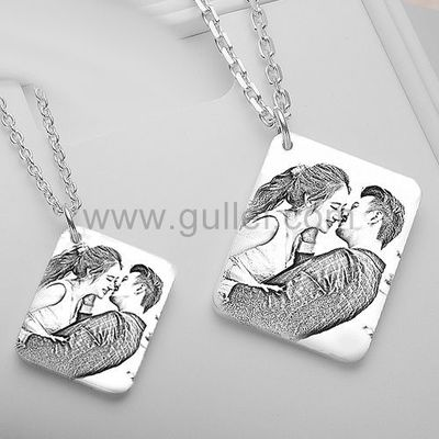 Gullei.com Photo Engraved Necklace Wedding Anniversary Gift for Couples