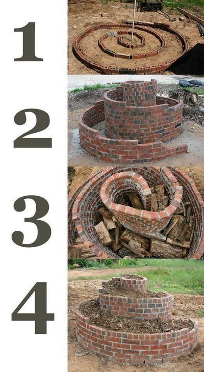 This is an herb spiral, in which you plant drought hardy plants at the top and water-thirsty plants at the bottom. By adding wood, it mimics hugelkultur, in which buried wood adds nutrients and reserves water. - Grow Food Not Lawns Facebook page (link...