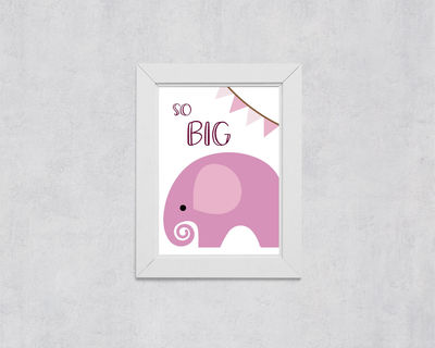 Nursery Wall Art: Pink Elephant, So Big $5.00