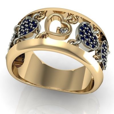 2 Tone Engagement Sapphire moving hearts Lovers Ring in 14K or 18K yellow gold $1125.00
