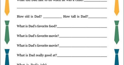 image relating to Father's Day Questionnaire Printable named PDF Printable Fathers Working day Questionnaire -- even a versi