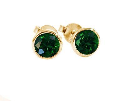 Bridesmaids Gift for Her Gold Earrings Gold Earrings Emerald Earrings Emerald studs Stud Earrings 18K Gold 5 mm $609.50