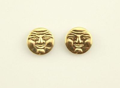 Handmade Man in the Moon Gold Plated Magnetic Non Pierced Clip Earrings $25.00 Designed by LauraWilson.com